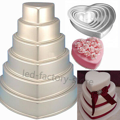 7 Sizes Heart Cake Fondant Decorating Wedding Tins Bakeware Pan Baking Mold #T