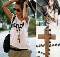 Men's/Women's: Wood Cross/Crucifix Pendant & Rosario Rosary Beads Necklace Chain