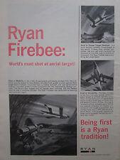 4/1967 PUB RYAN AERONAUTICAL FIREBEE JET TARGET MISSILE DRONE ORIGINAL AD