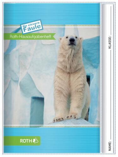"""ROTH Hausaufgabenheft Tiere für clevere Faule /""""Eisbär/"""" DIN A5"""
