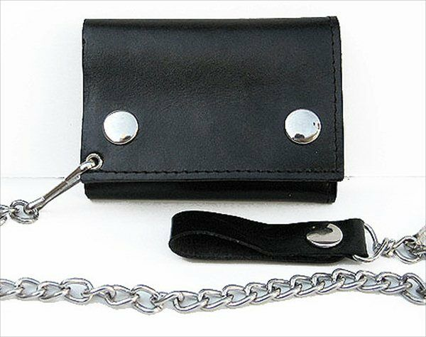 Black Genuine Leather Biker Men's Wallet Chain ID Trifold Motorcycle Card Holder