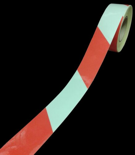 2M X 50MM RED//WHITE REFLECTIVE CHEVRON HAZARD WARNING TAPE STICKY BACK VINYL