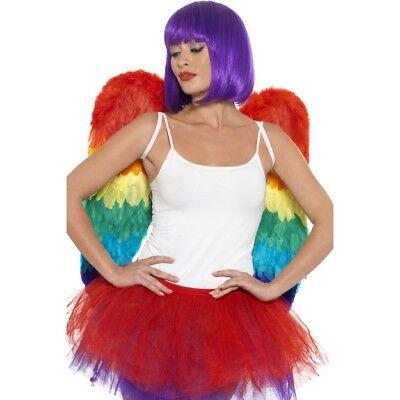 Rainbow Feder Flügel Damen Vogel Papagei Kostüm Zubehör