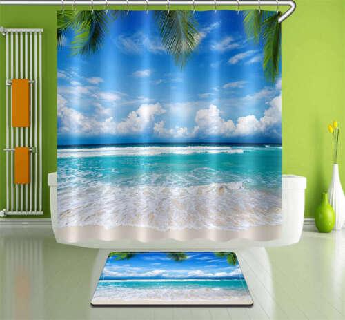 Foam Azure Waterproof Bathroom Polyester Shower Curtain Liner Water Resistant