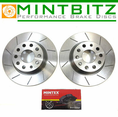Ford Mondeo Est 2.0 04-07 Front Rear Brake Discs Black DimpledGrooved Mintex Pad