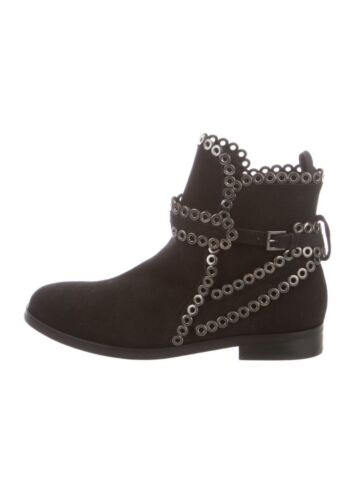 AZZEDINE ALAIA Black Suede Grommet Ankle Boots Si… - image 1