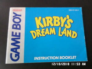 Kirby-039-s-Dream-Land-Gameboy-GB-Instruction-Manual-Booklet-Only-NO-GAME