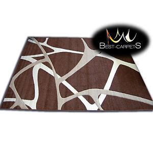 Epais-Tapis-Modernes-039-Pilly-039-Original-Marron-Geometrique-Abstrait-Bon-Marche