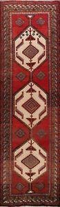 Vintage-Traditional-Geometric-Hand-knotted-Runner-Rug-Wool-Oriental-3x10-Carpet