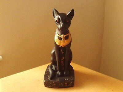 """1 Egyptian Bastet Cat Goddess Resin Stone Statue Black Gold Scarab 5.25/"""" #151"""