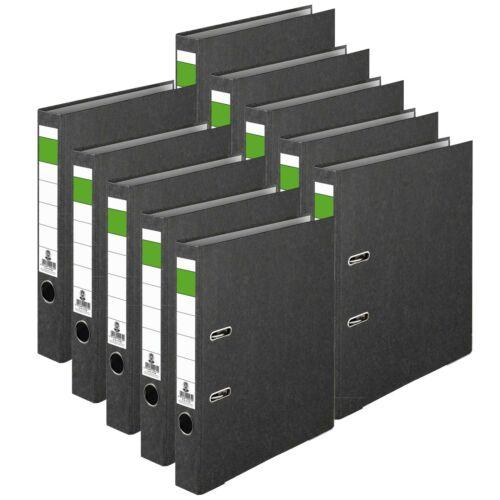 10 x Ordner Aktenordner Grüner-Balken aus Karton für A4 50mm Breite Wolkenmarmor