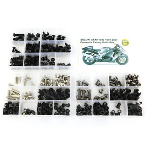 GHMotor 1999 2000 2001 2002 2003 2004 2005 2006 2007 Hayabusa Complete Black Fairing Bolts Kit