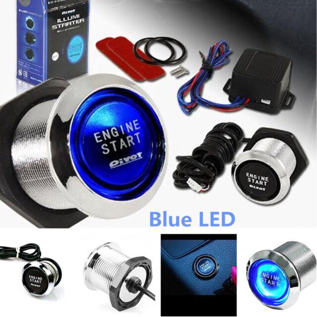 12V Blue LED Car Keyless Engine Start Push Button Switch Ignition Starter Kit