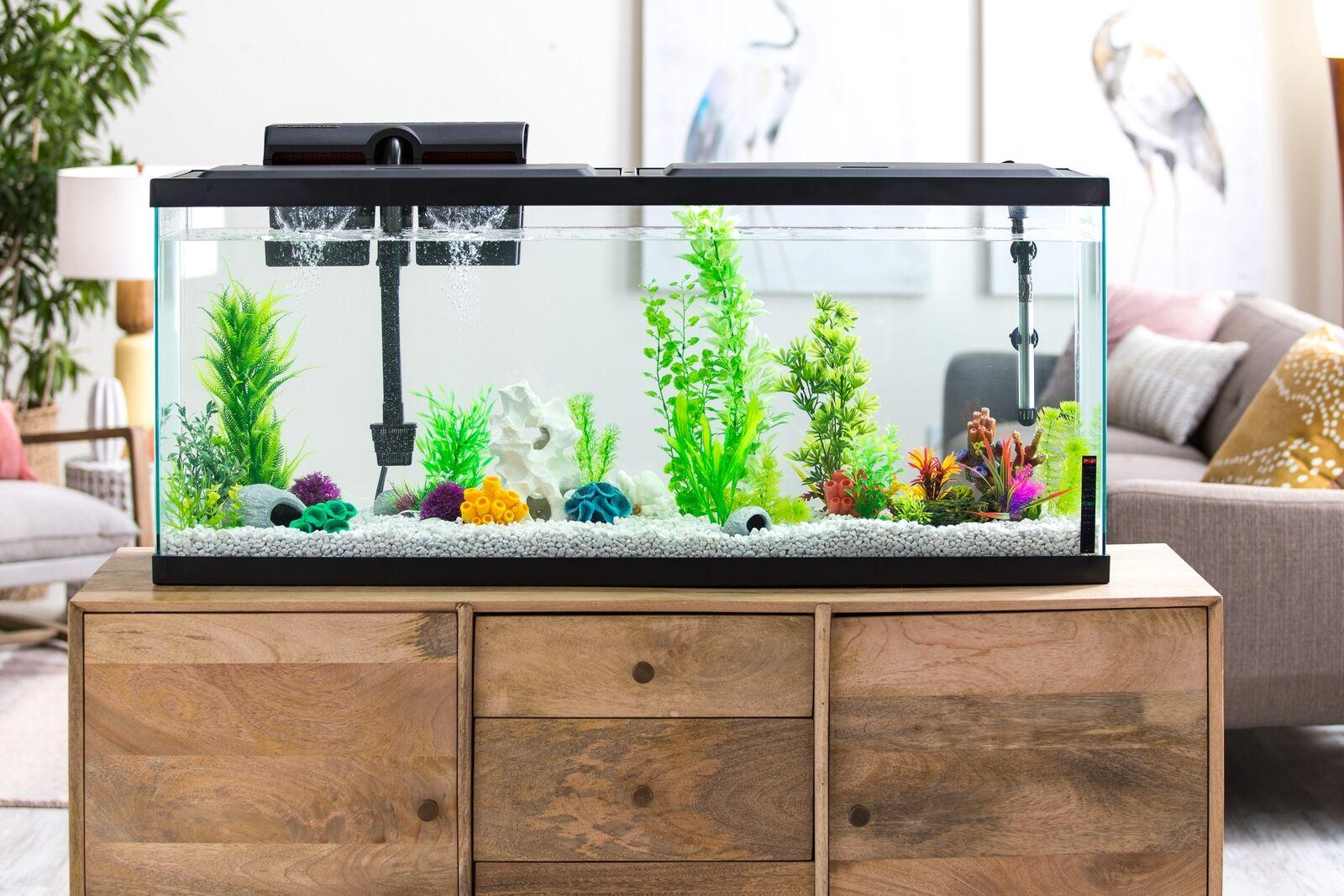Fish Aquarium 55 Gallon Tank LED Large Starter Kit Fish Tank Powerful Filter Day