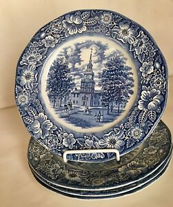 4-Staffordshire-Liberty-Blue-10-034-Dinner-Plates