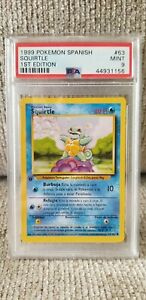 Pokémon TCG Squirtle 1st Edition Spanish PSA Grade 9 MINT