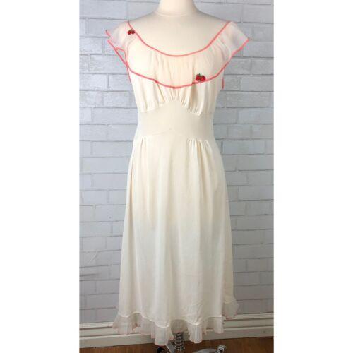 Vintage 1950's Nylon Peignoir Nightgown Lingerie S
