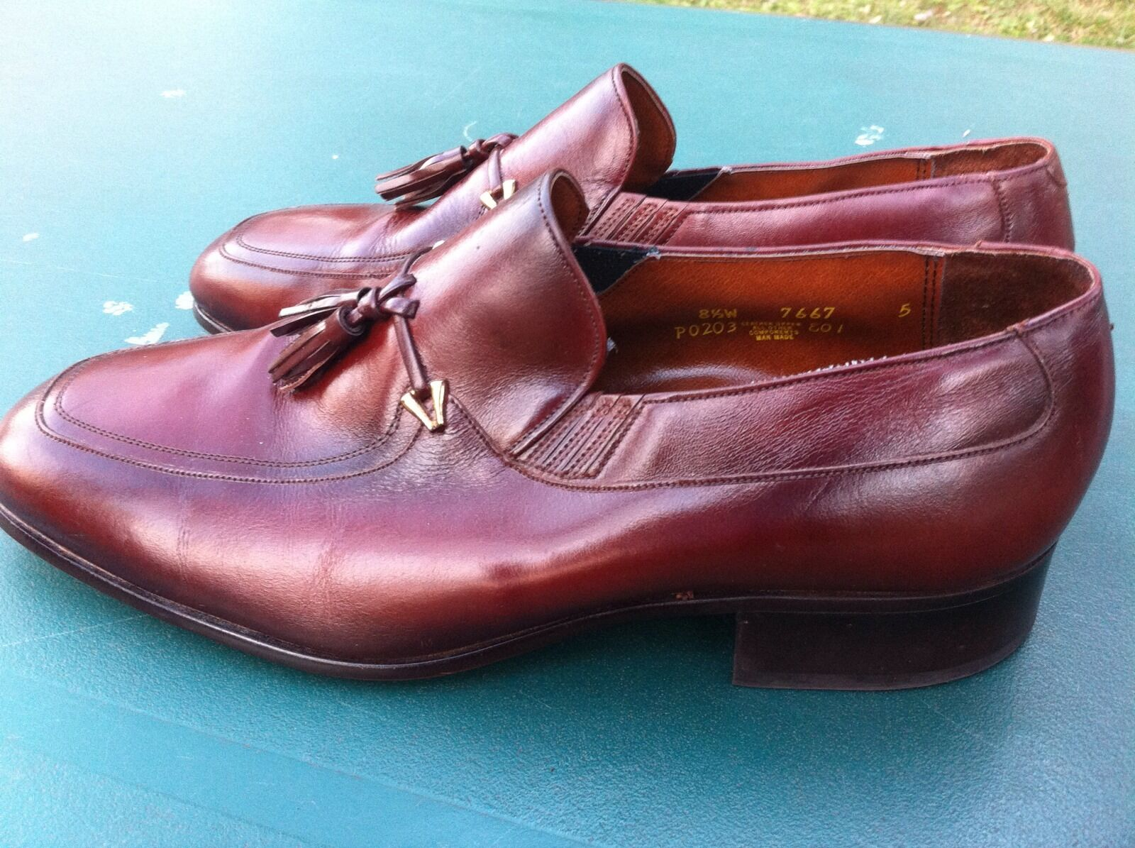 MEN'S FREEMAN LIGHTLINES BROWN LEATHER LOAFERS SZ 8.5W