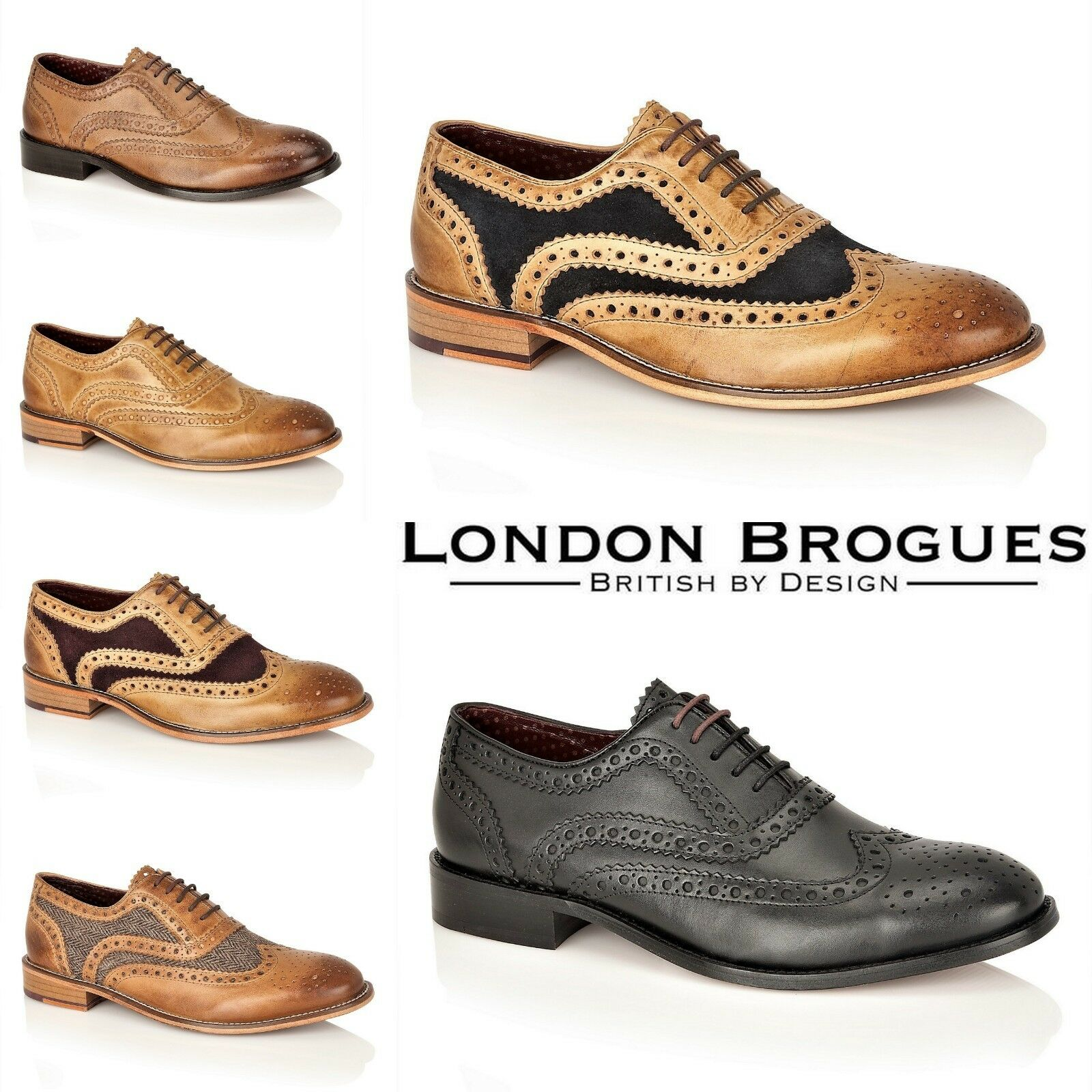 London Brogues New Mens Full Leather Brogues 5 Eye Lace Up  Watson Smart shoes