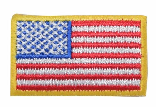 "Iron on Applique//Embroidered Patch Small 1.5/"" American Flag Yellow Border//USA"