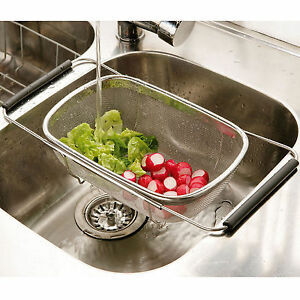 Adjustable Over Sink Strainer Stainless Steel Mesh Kitchen Colander ...