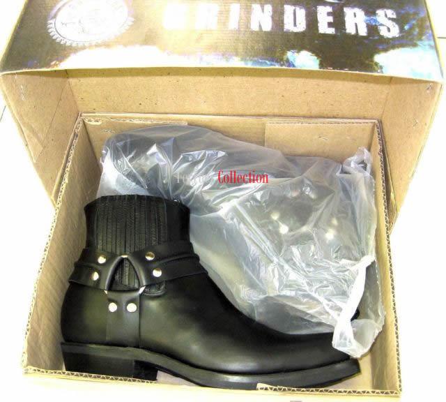 Grinders Unisex Renegade Lo Schwarz Unisex Grinders Lederstiefel Cowboy Western Biker f6e2dc
