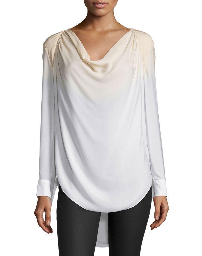 Haute Hippie Long-Sleeve Cowl-Neck Silk Blouse, Buff Swan Größe XS