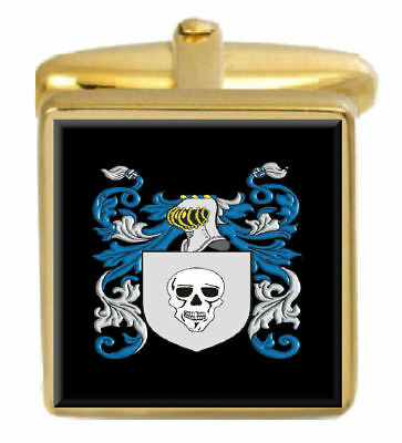 Select Gifts Patterson Scotland Family Crest Surname Coat Of Arms Gold Cufflinks Engraved Box