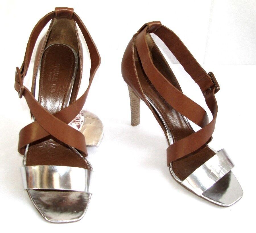 PAULE KA Sandales talons cuir 9 cm cuir talons braun & Silber 38   EXCELLENT ETAT 95be67