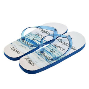 Personalised Happiness Comes.. Design Mens with Name Flip Flops UK 8-11 XFFS096