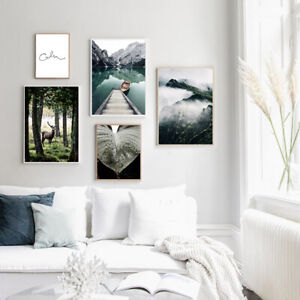 Nature-Landscape-Poster-Lake-Forest-Canvas-Wall-Print-Nordic-Decoration-Picture