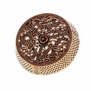 Dosenfibel der Wikinger von Gotland - Gewandschließe / Fibel Wikingerzeit Bronze