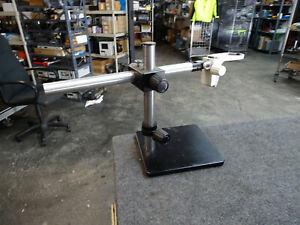 16-034-Scienscope-Microscope-Stand-w-24-034-Arm-amp-Leica-10447254-Stereoscope-Mount