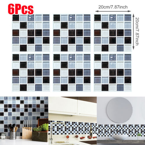 Kitchen Tile Stickers Bathroom Mosaic Sticker Self-adhesive Wall Decor 6PCS