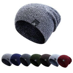 Men-Women-Winter-Baggy-Knit-Long-Slouchy-Beanie-Hat-Fleece-Lined-Skull-Ski-Cap-P