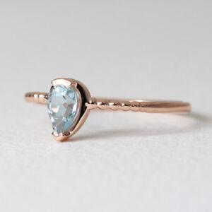 Aquamarine-Solitaire-Ring-Aquamarine-Ring-14K-Solid-Gold-Ring-Teardrop