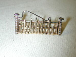 14KT gold handcrafted antique Historic Colonial Picket Fence diamond Brooch