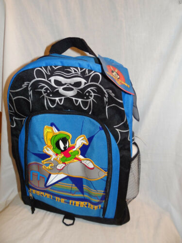 """NWT LOONEY TUNES MARVIN THE MARTIAN BLUE BACKPACK 11/""""X16/"""" //WATER BOTTLE"""
