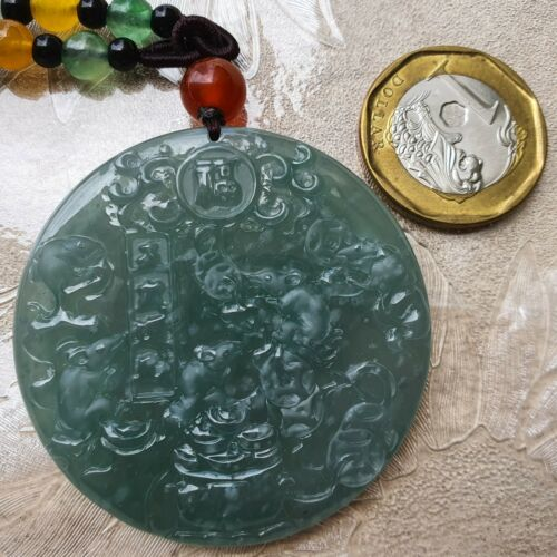 Details about  /Certified Type A Icy Jadeite Pendant Ice Blue Water Snowflakes Jade 5 Coin Mice