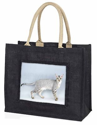 Orientalische schwarz + Silber Katze große Einkaufstasche Weihnachtsgeschenk,