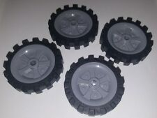 "Lot of 4 K'nex Wheels 2.5"" inch Tires & Rims Replacement Pieces Parts Knex"