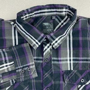 Ocean-Current-Button-Up-Shirt-Mens-M-Gray-Black-Purple-Long-Sleeve-Plaid-Pockets