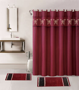 Attrayant Image Is Loading 15PC BURGUNDY BUTTERFLY BATHROOM SET BATH MATS SHOWER