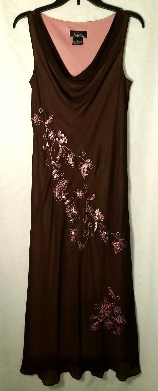 AGB Byer California floor-length dress, brown w pink sequin trim, sz8, Excellent