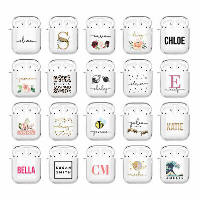 2 and AirPod Pro Cute Perfect Gift. Personalized Flight Ticket Clear Shock Proof Custom AirPod Case For AirPods 1