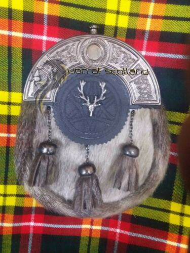 Dress Scottish Black Leather Kilt Sporran Sealskin Antique Cantel Stag Head Belt
