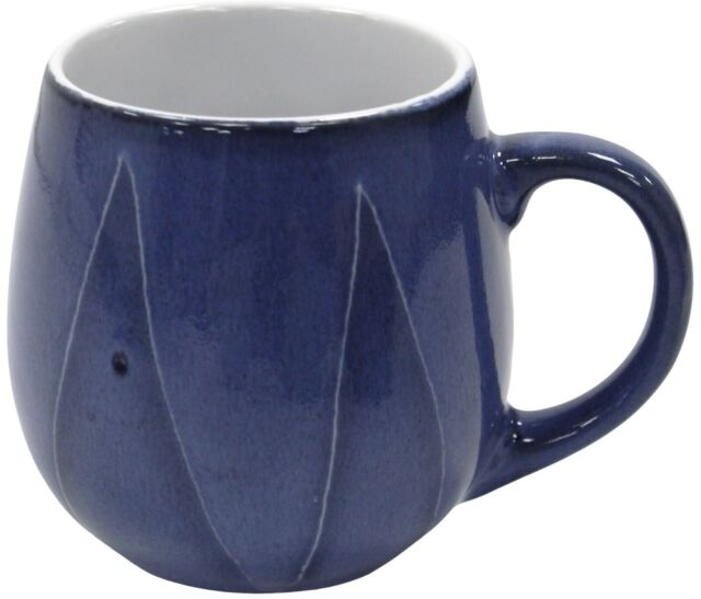 Set of 4 Jumbo Large Soup Mugs 500ml Capacity Reactive Glazed Coffee Denim Mugs