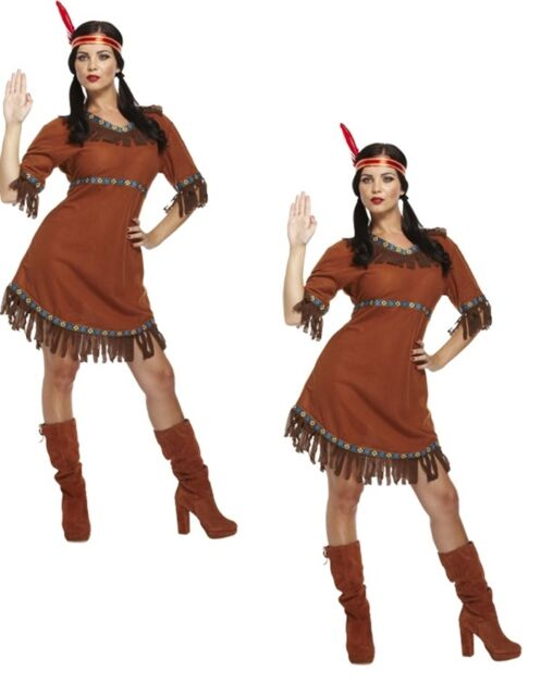 Ladies Sexy Native Indian Squaw Pocahontas Wild West Fancy Dress Costume Outfit  sc 1 st  eBay & Ladies Native Indian Squaw Pocahontas Wild West Fancy Dress Costume ...