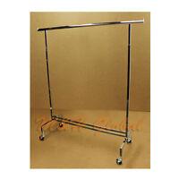 "81"" Adjustable Single Bar Clothes Hanger Rack Retail Garment Display with Wheels"