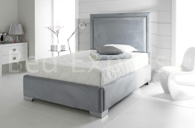 STYLISH FABRIC UPHOLSTERED BED FRAME CHENILLE LEATHER 4FT6 DOUBLE 5FT KING SIZE